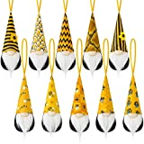 Bumble Bee Hanging Gnome Ornaments Set of 10, Handmade Swedish Honey Bee Elf World Bee Day Party Gift Summer Home Farmhouse Kitchen Plush Decor Bee Shelf Tree Ornaments