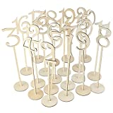 scoolr mesa números, 1A 20de madera para números de mesa con de incienso soporte base para boda fiesta, madera, Pack of 20(1-20), 35 x 8.7cm/13.77'x3.42'