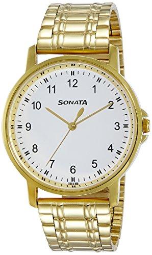 Sonata Essentials 77083YM01 - Reloj analógico para hombre, esfera blanca