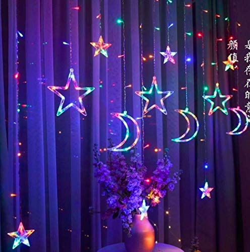 Stars Curtain Light, 12 Stars 138 LED Star Moon Window Lights with 8 Modes Lighting Battery Operated for Christmas Wedding Party Home Bedroom (Multicolor)