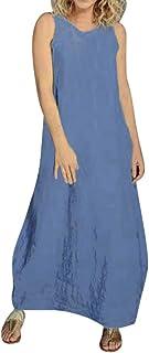 Women O-neck Solid Casual Long Dress ❀ Ladies Summer Fashion Casual Long Maxi Dress Home Casual Party Dress