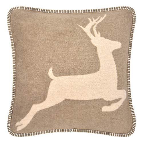 pad - hert - kussens, sierkussens, kussenhoes - 50 x 50 cm - kleur: taupe, beige - knuffelzacht - zonder vulling