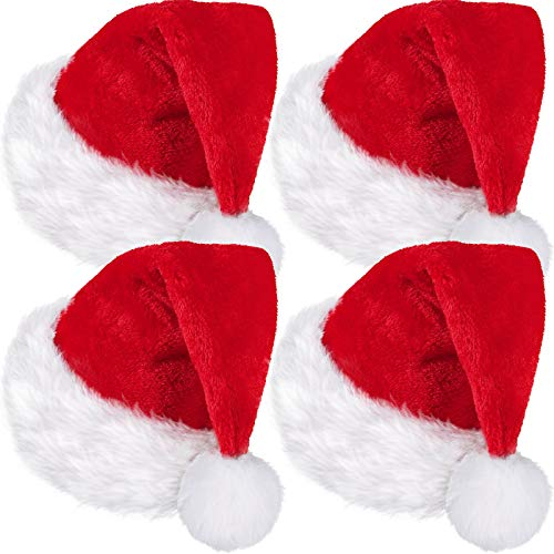 SATINIOR 4 Pack Santa Hat, Unisex Velvet Christmas Hat with Comfort Lining and Plush Brim Santa Claus Hat for Party New Year Christmas Day (Red, Child size)