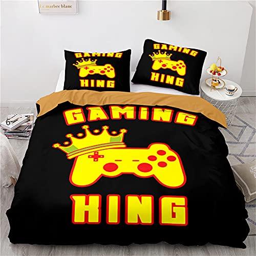 Agmdno Ropa de cama de 135 x 200 cm, funda nórdica Playstation, PS4, juego de cama de 3 piezas, microfibra, funda nórdica de 80 x 80 cm,...
