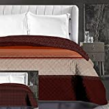 DecoKing Couvre-lit Marron Chocolat Rayures Rouge Jeté de lit Double Face Facile d'entretien Beige Chocolate Brown Red Hypnosis...
