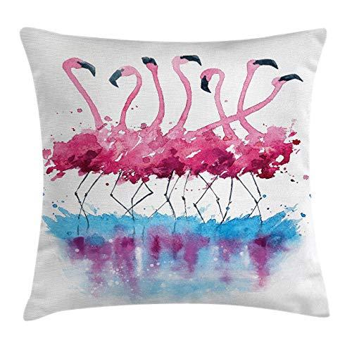 Funda de cojín para cojín con diseño de pájaros, flamencos, amor, plumas, romance, efecto acuarela, decoración cuadrada, 40,6 x 40,6 cm, color rosa y azul