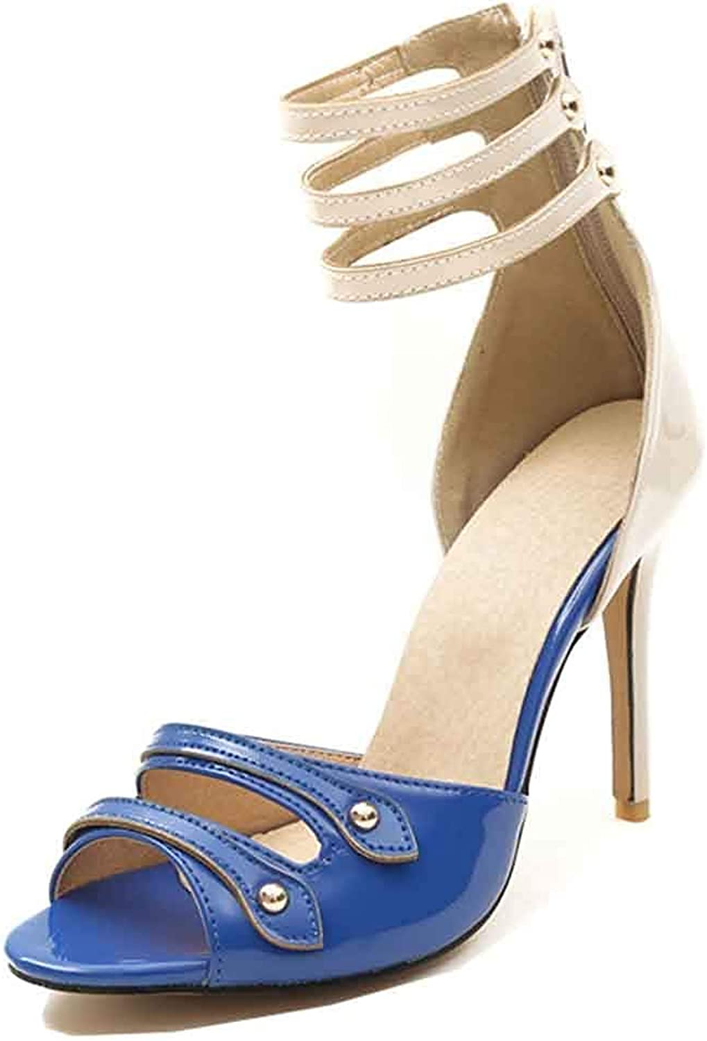 Unm Women's Peep Toe Sandals with Ankle Strap - Burnished Zipper Stilettos - Sexy High Heels