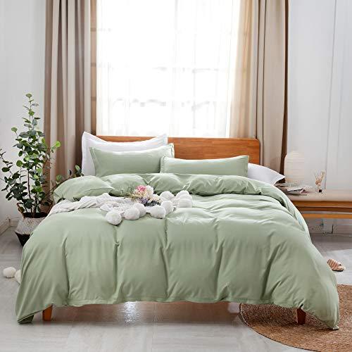 Uhsupris Green Duvet Covers Full/Queen Size 3 Pieces Green Bedding Set Queen with Zipper&Corner Ties(No Comforter)