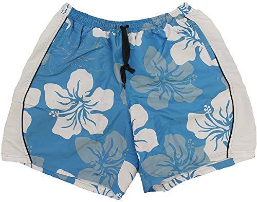 Abraxas Übergrößen Schicke Bade-Shorts Blumenprint Royal/Weiß 8XL