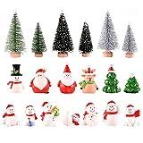 Feelava 19 Pièces Noël Miniature Ornament Kits Mini Style De Noël Figurines Père Noël Arbre De Noël Mignon Dessin Animé De Noël Décor pour La Maison Garden Party Decor Bureau Décoration Style A