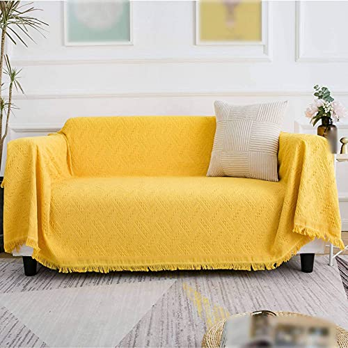 Sofabezüge Einfarbig Sofa Schonbezug,Sofabezug für 3 Kissen Couch 1 Stück Waschbar Quaste Weicher Couchbezug Möbelschutz für Wohnzimmer Dekoration-gelb-90×210cm(35×83inch)