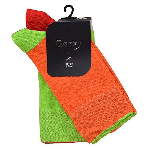 Qano 7006 2er Pack Mädchen/Damen Socken ohne enges Gummi orange & grün (35-38, Orange & Grün)