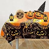 Mantel de Halloween, color negro y naranja, mantel de mesa a prueba de derrames, mantel de Halloween para decoraciones de fiestas de Halloween, cenas, noches de cine de miedo, 54 x 70 pulgadas