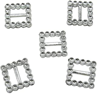 50 Pcs 20mm Plastic Square Silver Buckle Chair Sash Ribbon Slider for Wedding Invitation Letter