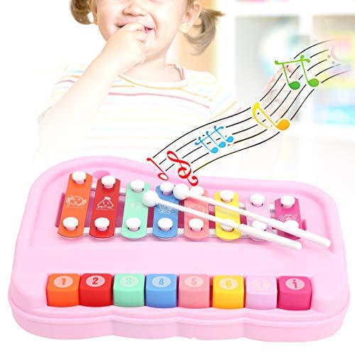 Baby Musik Klavierspielzeug, 2 in 1 Baby Klavier 8 Skala Kinder Xylophon mit Schlägeln Klavier lernen Spielzeug Musik Pädagogisches Lernen Kinder Musikinstrumente(Rosa)
