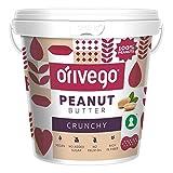 ORIVEGO Mantequilla de cacahuete crujiente, 1kg – Crema de cacahuete 100%, vegana, sin azúcar y sin aditivos