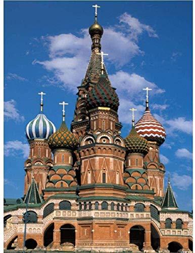 Rompecabezas de madera para adultos, 1000 piezas, iglesia rusa castillo de madera, juguetes educativos clásicos