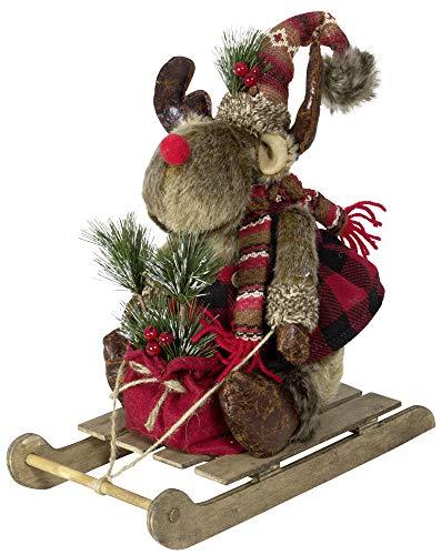 Christmas Paradise Winterlicher Deko auf Schlitten Elch Rentier Weihnachtsdeko Größe ca.30cm