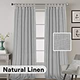 H.VERSAILTEX 2 Pack Ultra Luxurious High Woven Linen Elegant Curtain Panels Light Reducing Privacy Panels Drapes, Tab Top Curtain Set, Extra Long 52x108-Inch, Dove