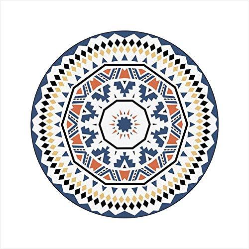 SJIUH Alfombra,Carpets for Living Room Blue Diamond Circle Pattern Round Carpet Bedroom...