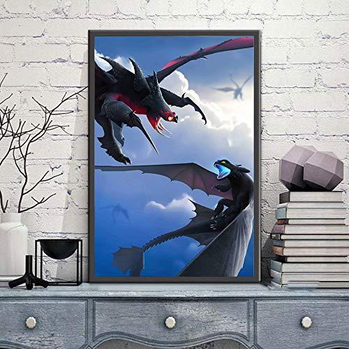 KWzEQ Leinwand malen, wie Sie Ihr Drachenplakat HD Wandkunst Kinderzimmer Bilddekoration trainieren,Rahmenlose Malerei,30X45cm