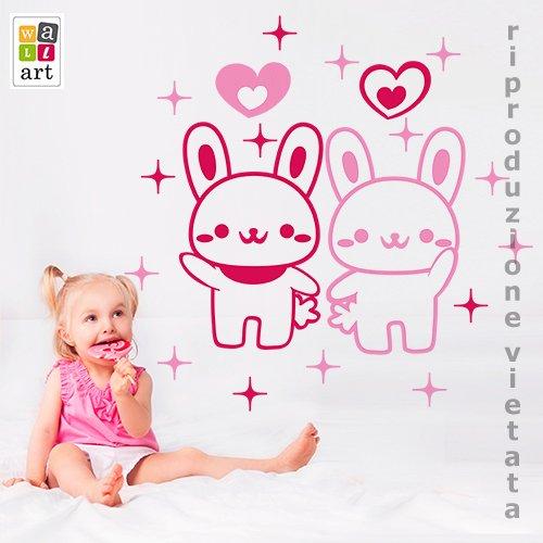 Wall Art Sticker mural pour enfants Baby lapins – Dimensions 74 x 60 cm – Décoration murale, autocollants pour mur, papier peint