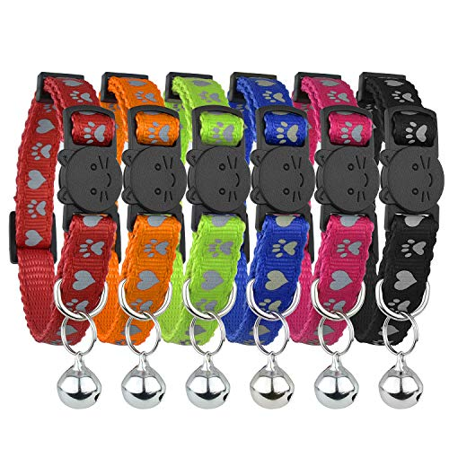 Cat Collar Breakaway Reflective with Bell - Paw and Heart Unique Design, Set of 6, Solid & Safe Collars for Cats, Nylon, Mixed Colors, Pet, Breakaway Cat Collar, Free Replacement
