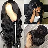 Pizazz Human Hair Lace Front Wigs for Black Women 150% Density Brazilian Deep Wave Lace Front Wig with Baby Hair Pre Plucked Bleached Knots(14'')