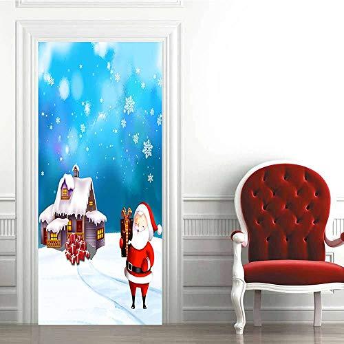 Pegatinas de Puerta 3D-Dibujos Animados de Santa Claus-Murales Autoadhesivos Decoración del Hogar Pegatinas de Pared PVC Pegatinas de Arte Dormitorio Sala de Estar Póster Extraíble 88x200cm