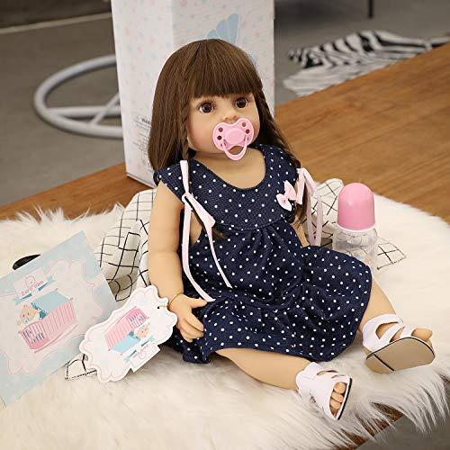 Zero Pam Lifelike Reborn Babies Silicone Body Dolls 22inch Full Body Silicone Vinyl Girl Doll Reborn Baby Doll Lifelike Baby Toddler Girl Doll for Kids