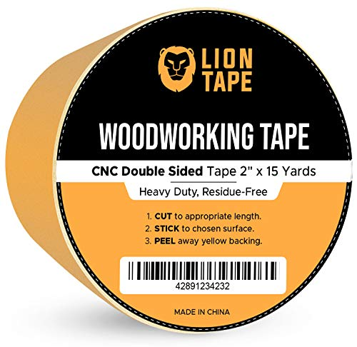 """Double Sided Woodworking Tape w/Yellow Backing 2"""" x 15 yds, for CNC Machining, Wood Templates, Removable & Residue Free"""