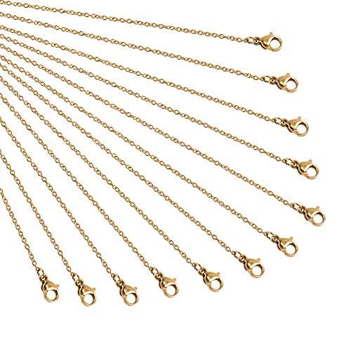 NBEADS Kette, 20 Stück, 50 cm, goldfarben, Edelstahl-Kette, mit Karabinerverschluss, für Bastelarbeiten, Anhänger, Halskette, Armband, DIY Schmuckherstellung