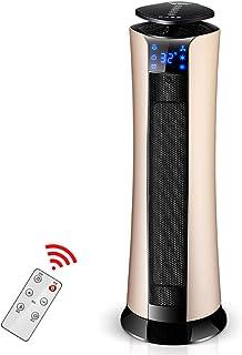 Lxn Calentador de espacio cerámico de PTC rosa, Calentador de torre oscilante Uso interior, Calentador eléctrico de 2000 vatios con control remoto, Termostato digital, Temporizador programable de 9 ho