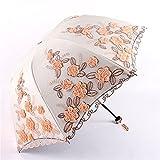 YSVSPRF Paraguas Lace Flor Bordado Ladies Mujeres Parasol Adulto Recubrimiento Negro UV Protección Sun Rain Umbrellas 3 Regalo Plegable de niña (Farbe : A)