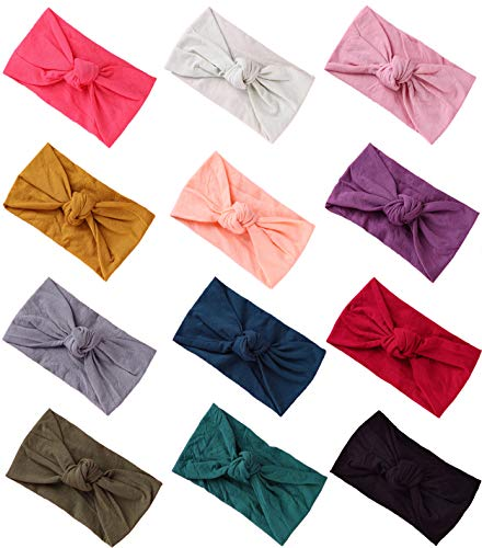 Baby Girl Nylon Headbands Newborn Infant Toddler Hairbands Knotted Children Soft Headwrap Hair Accessories (12pack-mul)