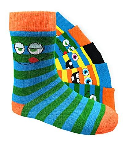 Kinder Socken handgekettelt 6 Paar aus besonders weicher Baumwolle bunter Mix Gr. 19-42 (31-34, Smileys Jungen)