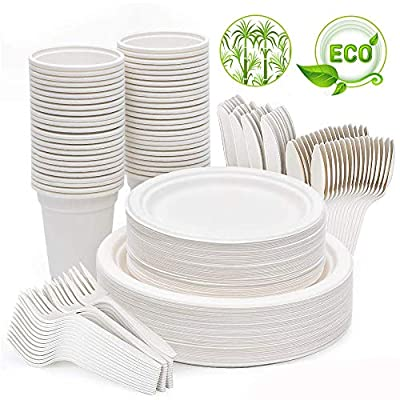 Disposable Plates Dinnerware Set, 300 Pcs Eco-Friendly Party Supplies Compostable Sugarcane Fibers Tableware 50 Biodegradable Dinner Paper Plates, Cups, Forks, Knives, Spoons Cutlery Set for Camping