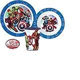 Little Flight Avengers Iron Man, Hulk Thor Capitan America Kit Pappa Scuola Set Pappa Mare Piatto,Bicchiere E Ciotola in PLASTICA Riutilizzabile per MICRONDE Avengers (1 Piatto,1 Tazza,1 Ciotola)