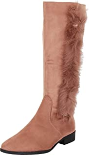 Cambridge Select Women's Faux Fur Round Toe Low Block Heel Knee-High Boot