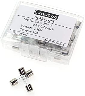 Exqutoo 10A 10amp 250V 5x20mm 0.2x0.78 Inch F10AL250V Fast-Blow Glass Fuses (Pack of 20)