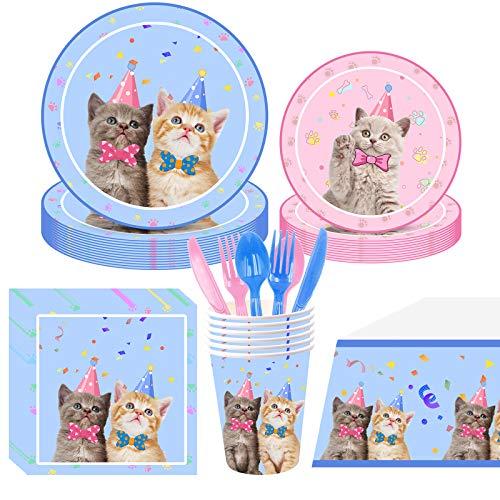 Hongfago 113 Stücke Cat Katze Party Set Partygeschirr Kindergeburtstag Haustiere - Rosa Blau Geburtstag Geschirr Kit - Teller Becher Servietten Stroh Messer Gabel und Löffel für 16 Gäste