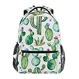 Ahomy Schulrucksack, Büchertasche für Teenager Mädchen Jungen, Aquarell Tropische Kaktus Blumen...