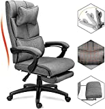 Reclining Office Chair, Big &Tall Executive Desk Swivel Chair with Adjustable Tilt Angle and Lumbar Support, Ergonomic Linen Office Chair with Headrest and Footrest