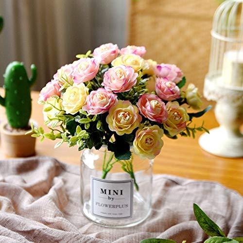 Xgruisi kunstmatige bloempotten in pot vaas, roze, glazen stop, bonsai, voor tuin, kerstdecoratie Rose-022