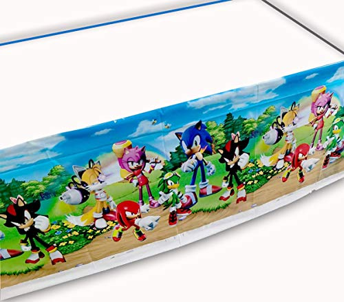 """DEPONG 2pack Sonic The Hedgehog Table Cloth, Sonic The Hedgehog Themed Birthday Party Decorations 