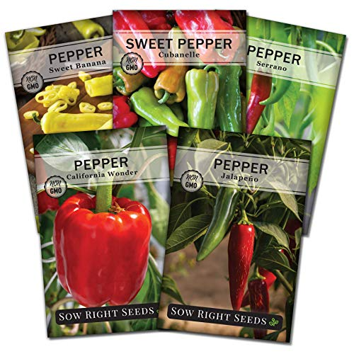 Sow Right Seeds - Pepper Seed Collection for Planting - Individual Packets of Banana, Cal Wonder, Cubanelle, Jalapeno, and Serrano, Non-GMO Heirloom Seeds to Plant an Outdoor Home Vegetable Garden