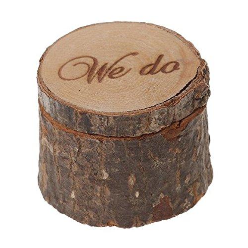 Veewon Natürliche Printed Rustic Shabby Chic Hochzeit Holz-Ring-Träger-Kasten - We Do