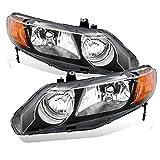 AmeriLite Replacement Headlights Black Housing for 2006-2011 Honda Civic Sedan 4 Door/Hybrid - Left + Right