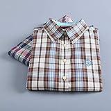 A-HXTM Camisa Moda Mujer Camisas a Cuadros Blusas de Manga Larga Señora Oficina Algodón Camisa Casual Estilo Novio Las Tapas se aplican al Trabajo Negocios o Uso Diario etc.-XL_2048
