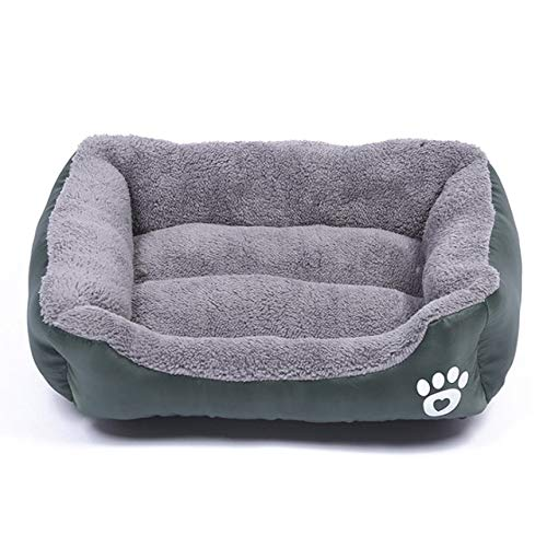 SSJIA - Cama para perros y gatos, 8 colores, cálida y acogedora casa de perro, forro polar, suave, para casa, otoño, invierno, resistente al agua, color verde oscuro, S